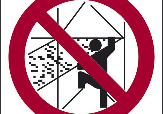 (vietato salire e scendere all' esterno dei ponteggi)