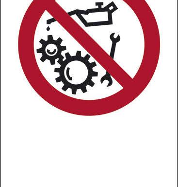 """(simbolo """"vietato operare su organi in moto"""" con spazio scrivibile)"""