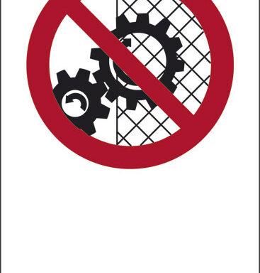 """(simbolo """"vietato rimuovere le protezioni di sicurezza"""" con spazio scrivibile)"""