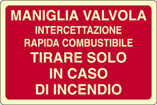 MANIGLIA VALVOLA INTERCETTAZIONE RAPIDA COMBUSTIBILE TIRARE SOLO IN CASO DI INCENDIO luminescente