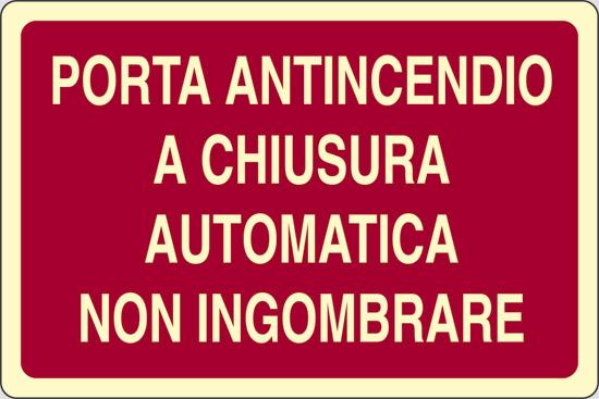 PORTA ANTINCENDIO A CHIUSURA AUTOMATICA NON INGOMBRARE luminescente