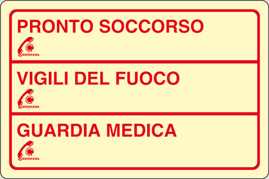 PRONTO SOCCORSO_____ VIGILI DEL FUOCO_____ GUARDIA MEDICA_____ luminescente