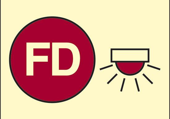 FD (spazio protetto da allarme antincendio automatico) luminescente
