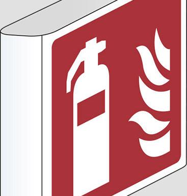 (estintore – fire extinguisher) a bandiera