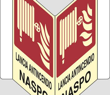 """LANCIA ANTINCENDIO NASPO """"V"""" luminescente"""