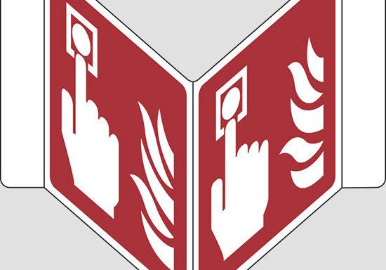 "(allarme antincendio – fire alarm call point) a ""V"""