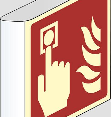 (allarme antincendio – fire alarm call point) a bandiera luminescente