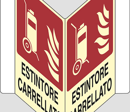 """ESTINTORE CARRELLATO  """"V"""" luminescente"""