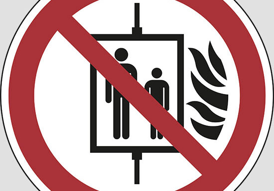 (do not use lift in the event of fire)