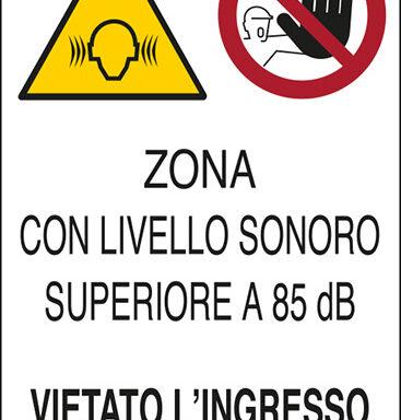 ZONA CON LIVELLO SONORO SUPERIORE A 85 dB(A) VIETATO L'INGRESSO AI NON AUTORIZZATI