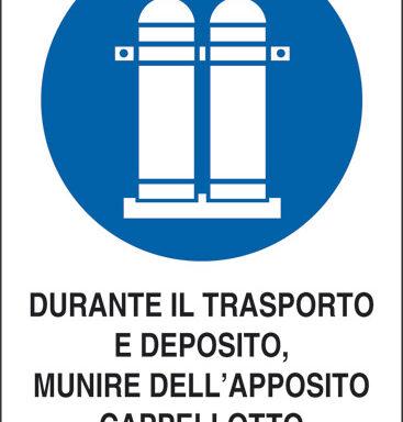 DURANTE IL TRASPORTO E DEPOSITO, MUNIRE DELL'APPOSITO CAPPELLOTTO LE BOMBOLE PIENE