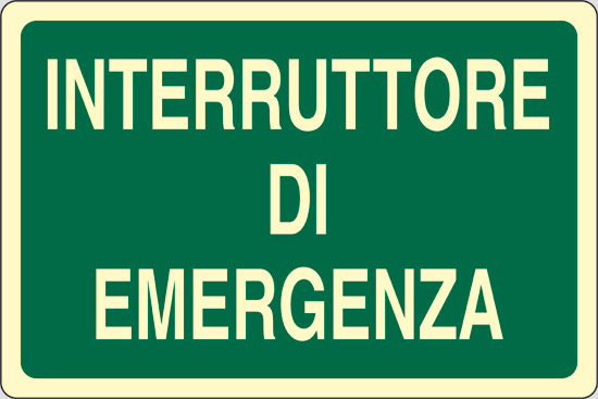 INTERRUTTORE DI EMERGENZA luminescente
