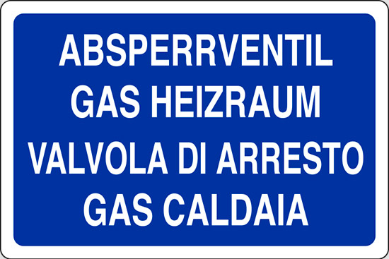 ABSPERRVENTIL GAS HEIZRAUM VALVOLA DI ARRESTO GAS CALDAIA