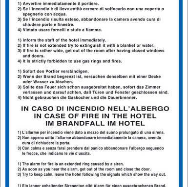 IN CASO DI INCENDIO NELLA CAMERA. IN CASE OF FIRE IN THE BEDROOM. IM BRANDFALL IM ZIMMER.