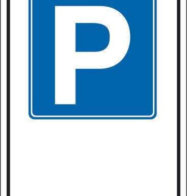 """(simbolo """"parcheggio"""" con spazio scrivibile)"""