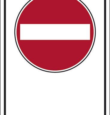 """(simbolo """"vietato l'accesso strada a senso unico"""" con spazio scrivibile)"""