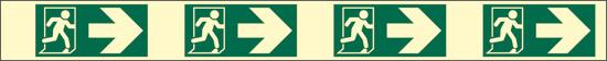 verde (indicazione di direzione delle uscite di emergenza – destra – con antiscivolo) luminescente