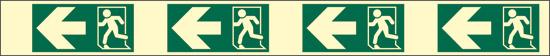 verde (indicazione di direzione delle uscite di emergenza – sinistra – con antiscivolo) luminescente