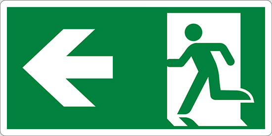 (uscita di emergenza a sinistra – emergency exit left hand)
