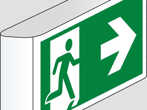 (uscita di emergenza – emergency exit) a bandiera
