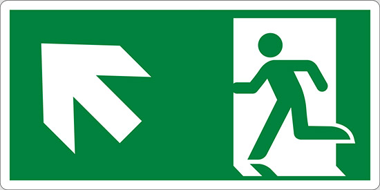 (uscita di emergenza in alto a sinistra – emergency exit up and left)