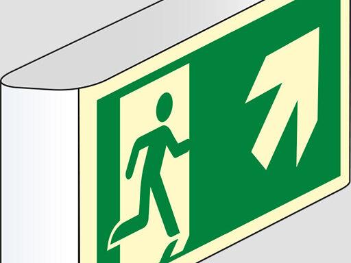(uscita di emergenza scala) a bandiera luminescente