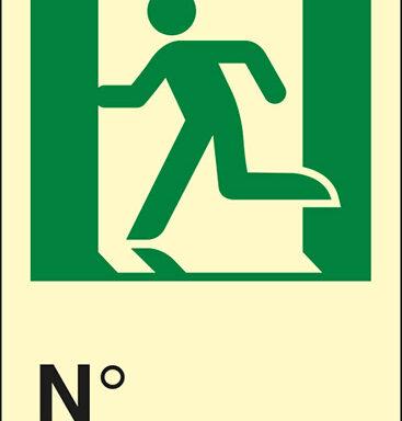 (uscita di emergenza a sinistra con omino) N luminescente