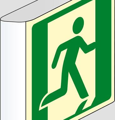 (uscita di emergenza – emergency exit) a bandiera luminescente