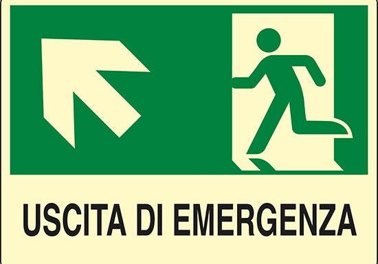 USCITA DI EMERGENZA (scala in alto a sinistra) luminescente