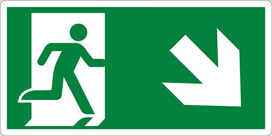 (uscita di emergenza in basso a destra – emergency exit down and right)