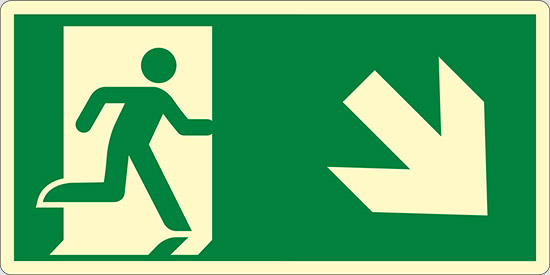 (uscita di emergenza in basso a destra – emergency exit down and right) luminescente