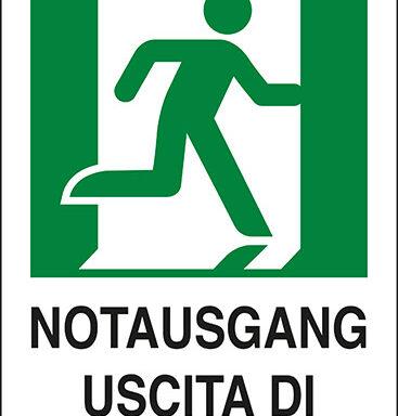 NOTAUSGANG USCITA DI EMERGENZA (a destra con omino)