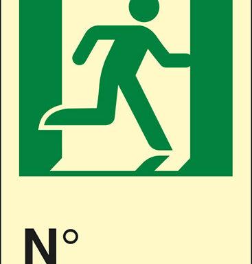 (uscita di emergenza a destra con omino) N luminescente