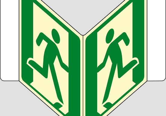 """(uscita di emergenza – emergency exit) a """"V"""" luminescente"""