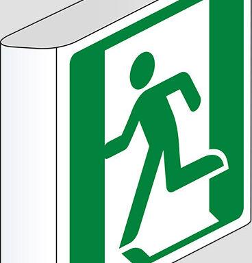 (uscita di emergenza a destra – emergency exit right hand) a bandiera