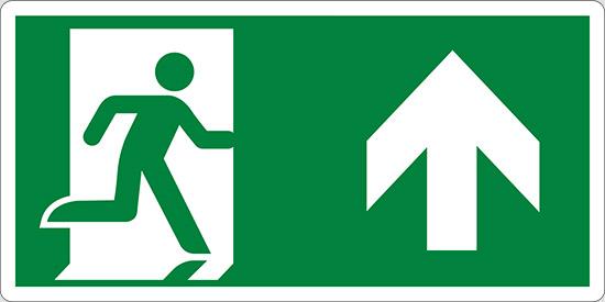 (uscita di emergenza in alto – emergency exit up hand)