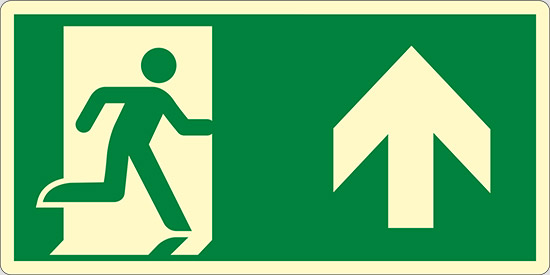 (uscita di emergenza in alto – emergency exit up hand) luminescente