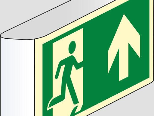 (uscita di emergenza in alto) a bandiera luminescente