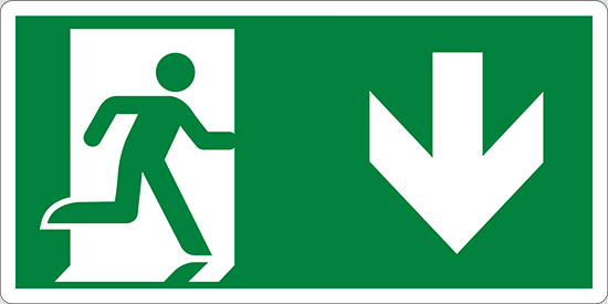 (uscita di emergenza in basso – emergency exit down hand)