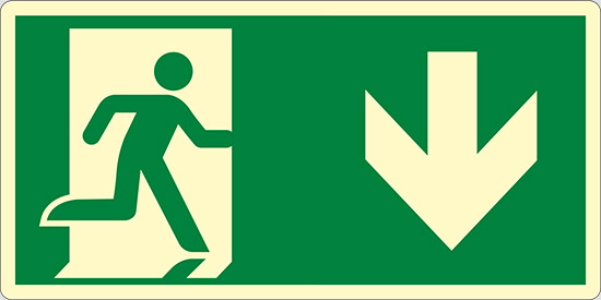 (uscita di emergenza in basso – emergency exit down hand) luminescente