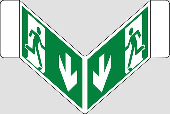 """(uscita di emergenza in basso) a """"V"""""""