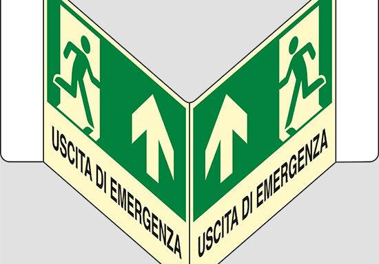"""USCITA DI EMERGENZA (in alto) a """"V"""" luminescente"""
