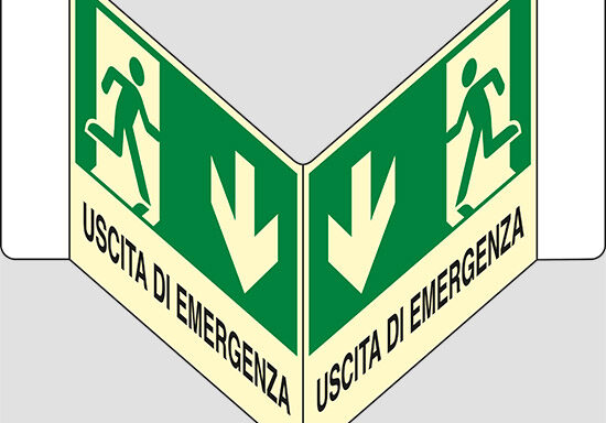 "USCITA DI EMERGENZA (in basso) a ""V"" luminescente"