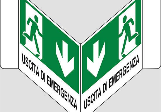 """USCITA DI EMERGENZA (in basso) a """"V"""""""