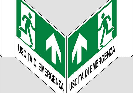 "USCITA DI EMERGENZA (in alto) a ""V"""
