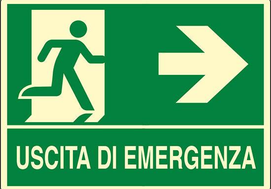 USCITA DI EMERGENZA (a destra) luminescente