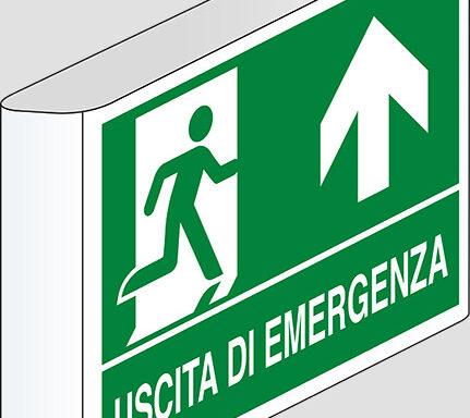 USCITA DI EMERGENZA (in alto) a bandiera
