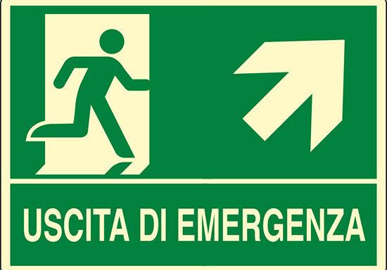 USCITA DI EMERGENZA (scala in alto a destra) luminescente
