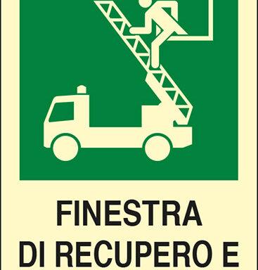 FINESTRA DI RECUPERO E SALVATAGGIO luminescente