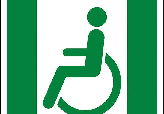 (uscita di emergenza per persone incapaci di camminare o con problemi di deambulazione a sinistra – Emergency exit for people unable to walk or with walking impairment left hand)